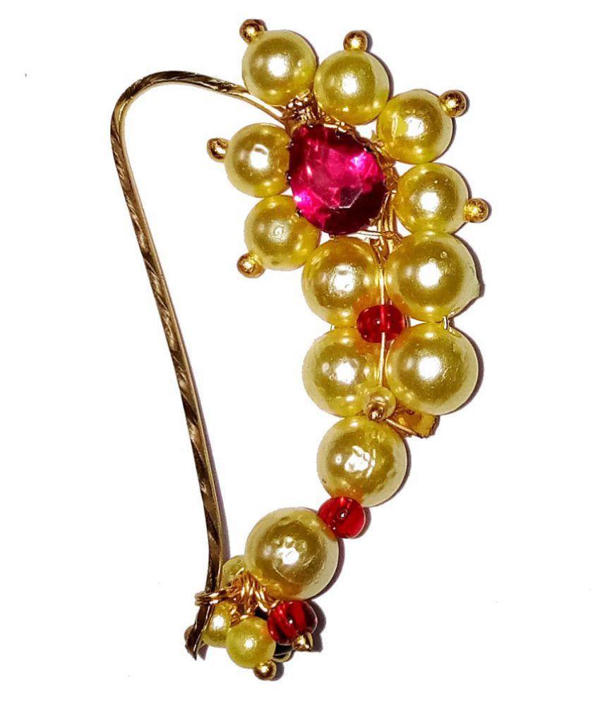 Shrungarika Alloy Golden Nose Pin for women