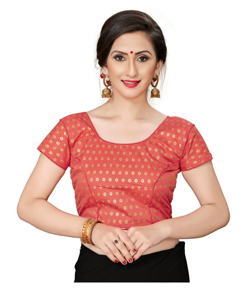 Shubh Sanidhya Peach Jacquard Readymade with Pad Blouse