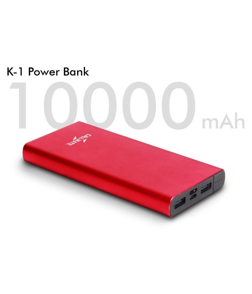 Callmate K 1 Ultra Slim 10000 -mAh Li-Polymer Power Bank Red