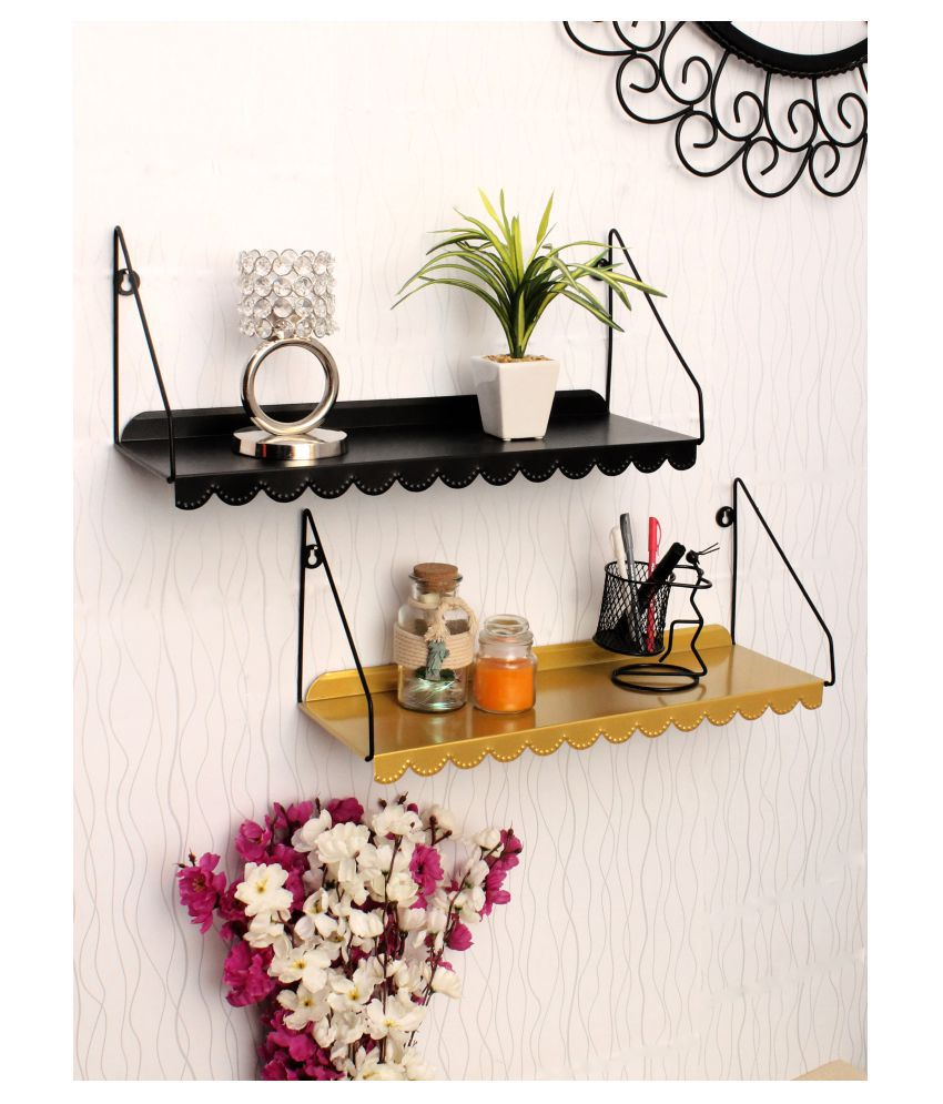 Home Sparkle Iron wall Rack (Set of 2), Black & Gold