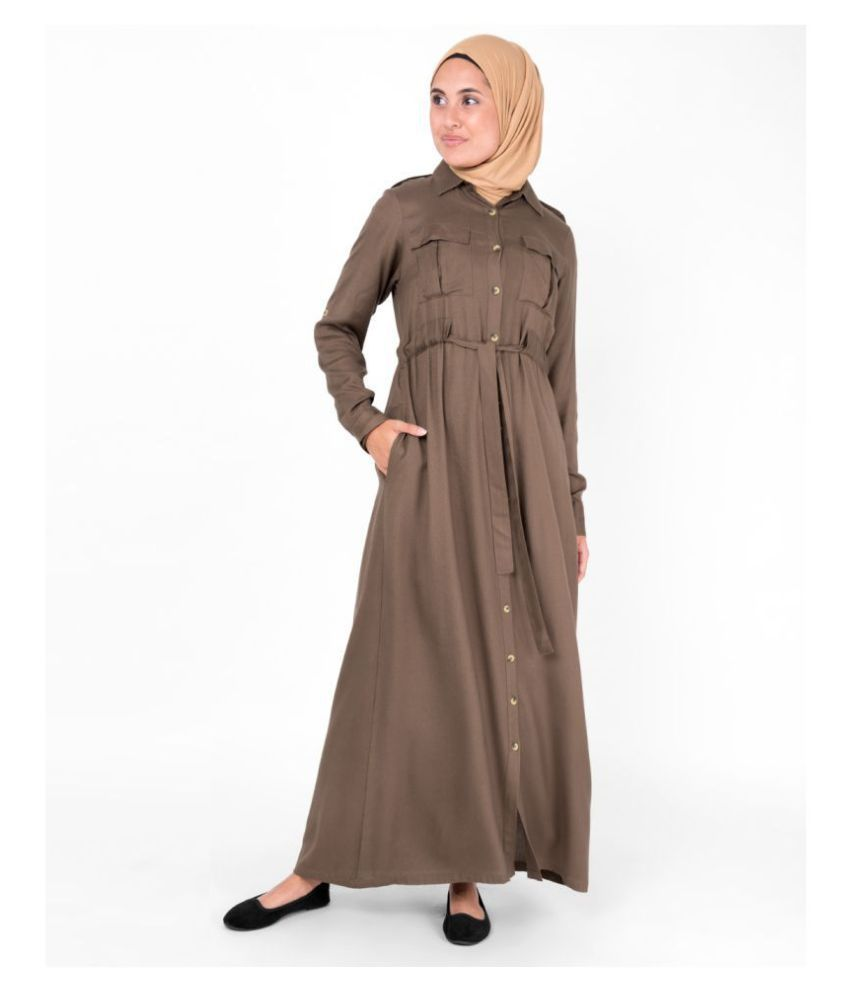 Silk Route London Brown Viscose Stitched Burqas without Hijab