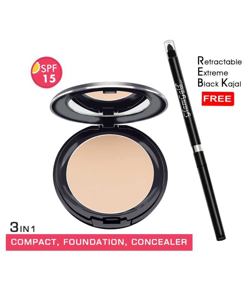 GlamGals Compact + Retractable kajal Free Pressed Powder Light SPF 15 Pack of 2 14 g