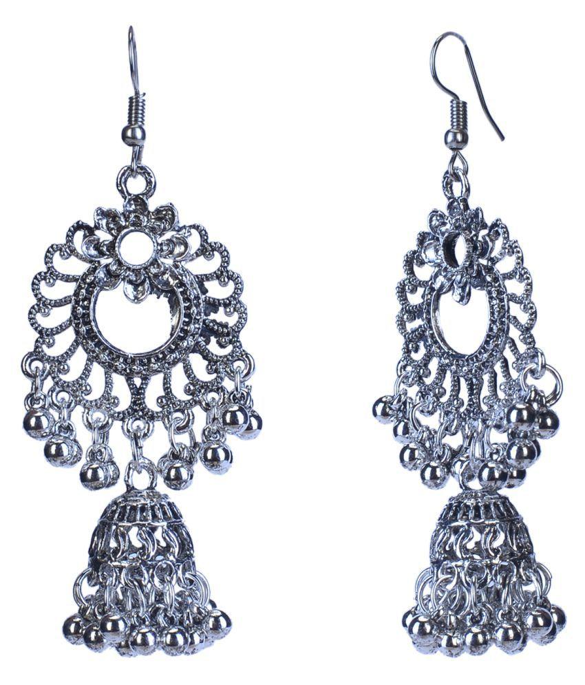 City Girl Traditional Sliver Plated Alloy Jhumki Earrings For Girls/Women