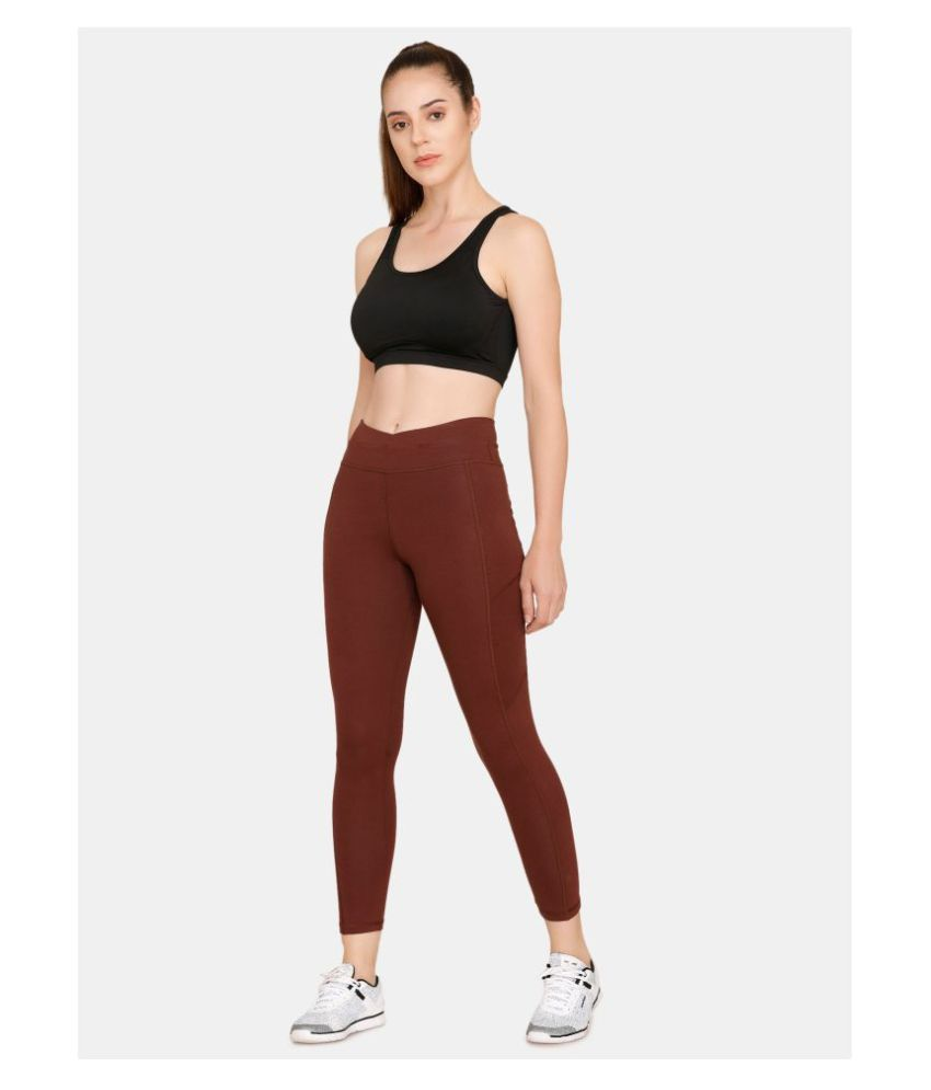Zelocity Brown Cotton Solid Tights