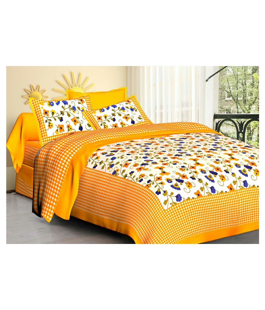 Indian Sparrows Cotton Double Bedsheet with 2 Pillow Covers
