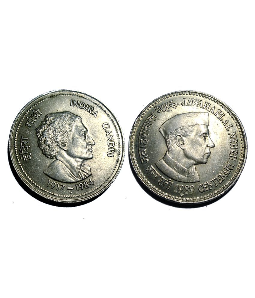 5 RUPEE 2 COINS INDIRA AND NEHRU COMBO FOR COLLECTION