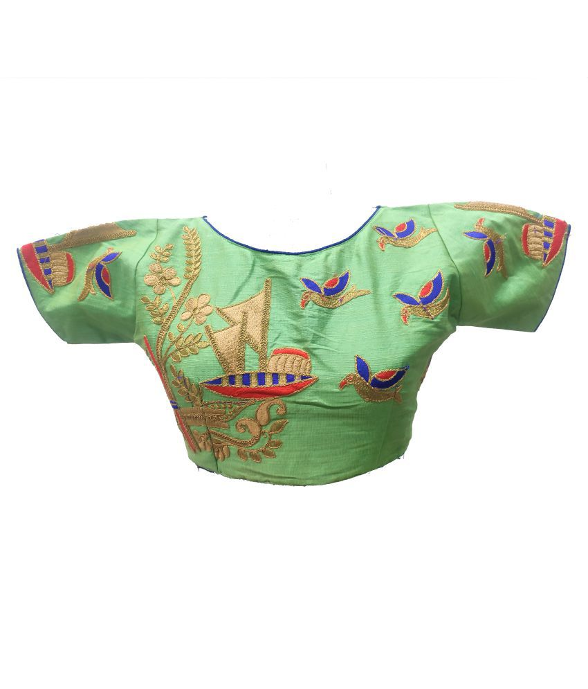 Comfort Collection Green Cotton Readymade with Pad Blouse