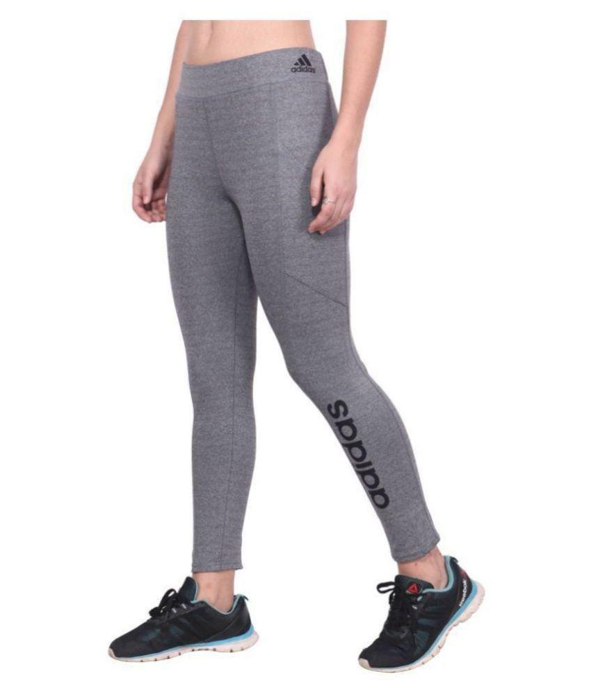 Adidas Grey Polyester Lycra Solid Tights