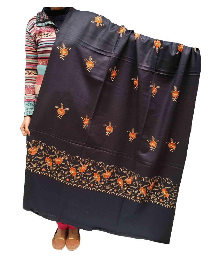 KASHMIRI Black Sozni embroidery Shawl