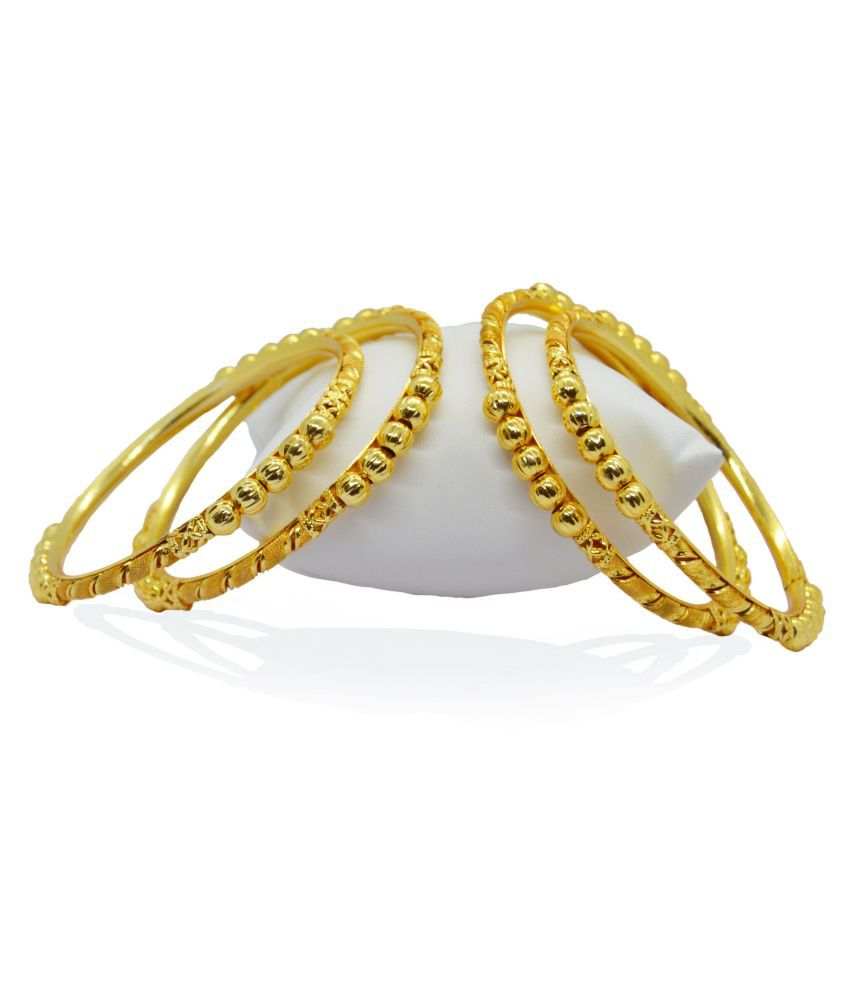 j. j. jewellers Gold Plated Thin Size Daily Wearable Bangles for Women - Set of 4