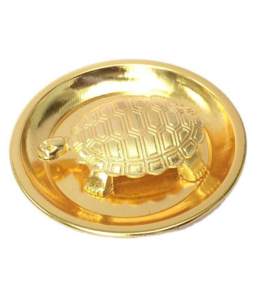 Vaastu/Fengshui Tortoise/Turtle for Good Luck with Plate-Brass ,Standard,Golden Vastu Feng Shui Golden Metal Turtle Tortoise