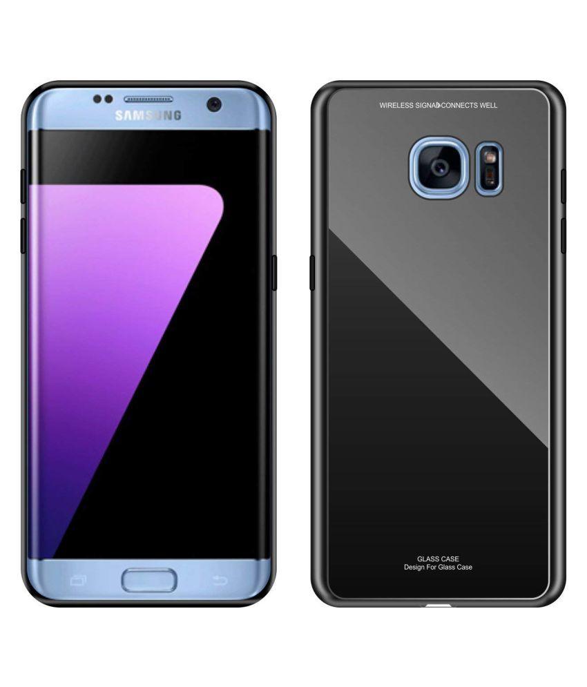 Samsung Galaxy S7 Edge Mirror Back Covers Designer Hub   Black