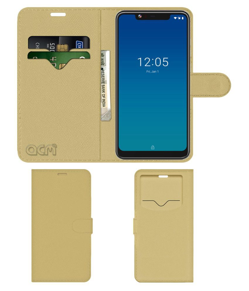 Centric A2 Flip Cover by ACM - Golden Wallet Case