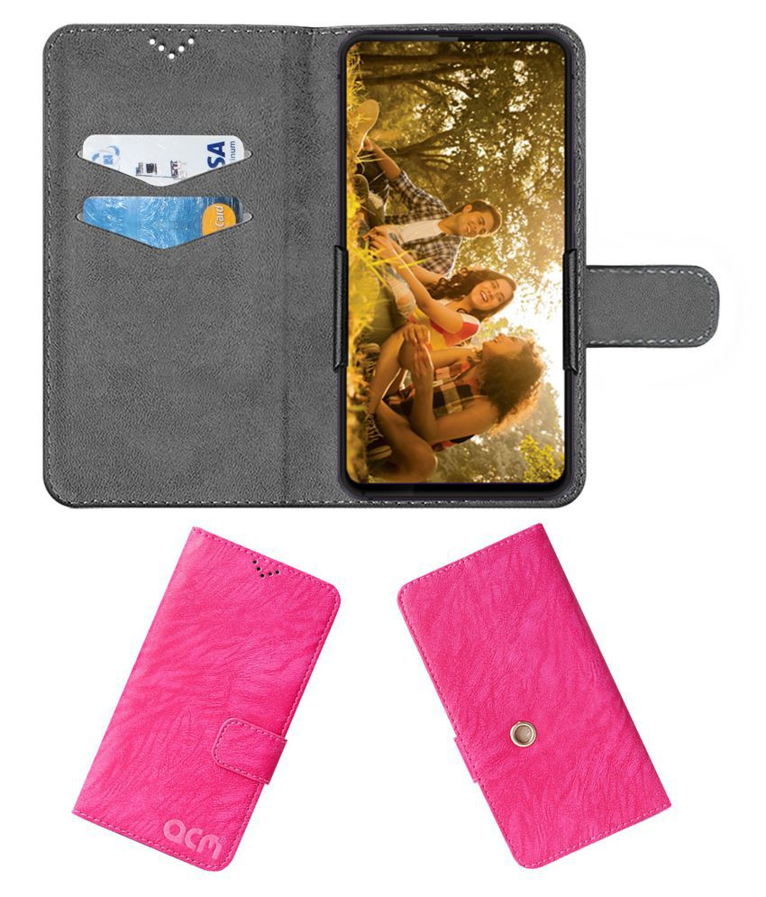 Centric S1 Flip Cover by ACM - Pink Clip holder to hold phone
