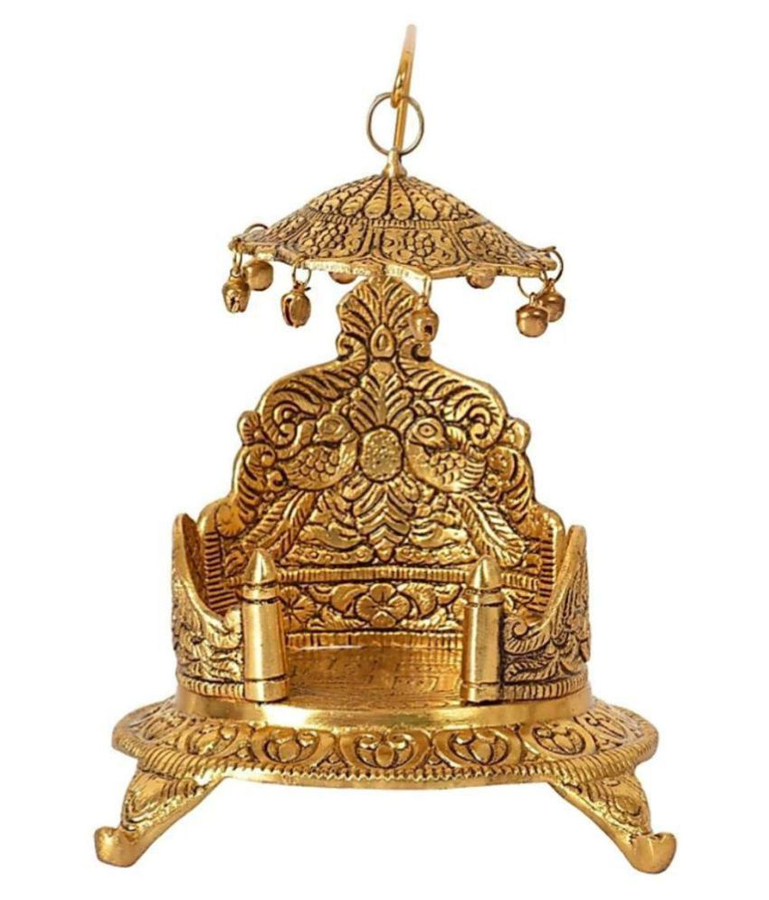 Krishnagallery Brass Laddu Gopal Singhasan Luxury Look For Kanha Ji Size 0 To 2 No