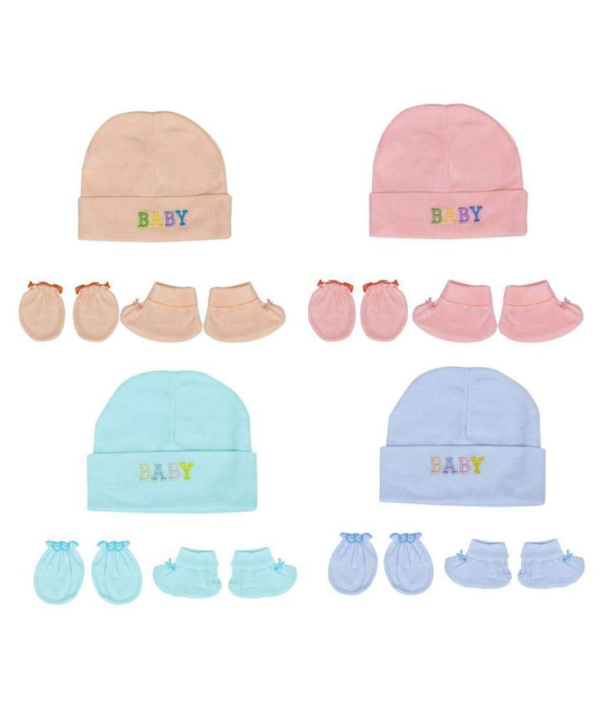 Gouravsumana Baby Boys and Baby Girl's Soft Cotton Cap ( Multicolour ; Pack Of 4 ) 3-6 Months