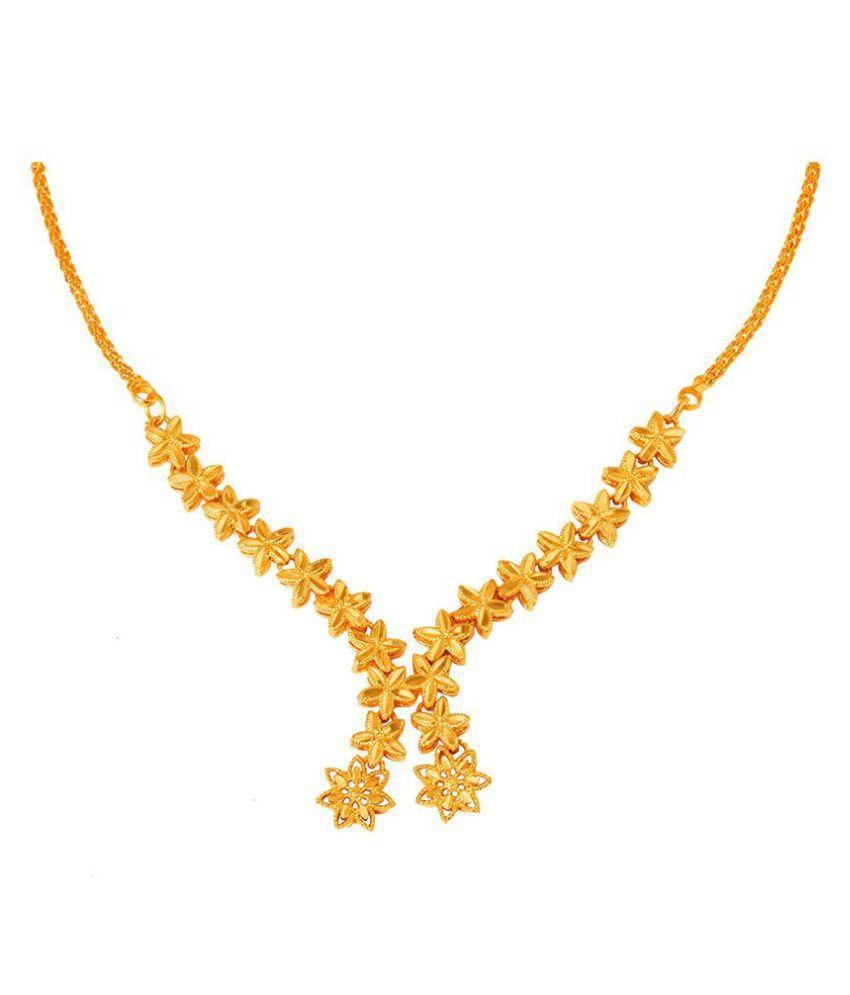 JFL - Jewellery For Less Copper Golden Designer 22kt Gold Plated Necklace