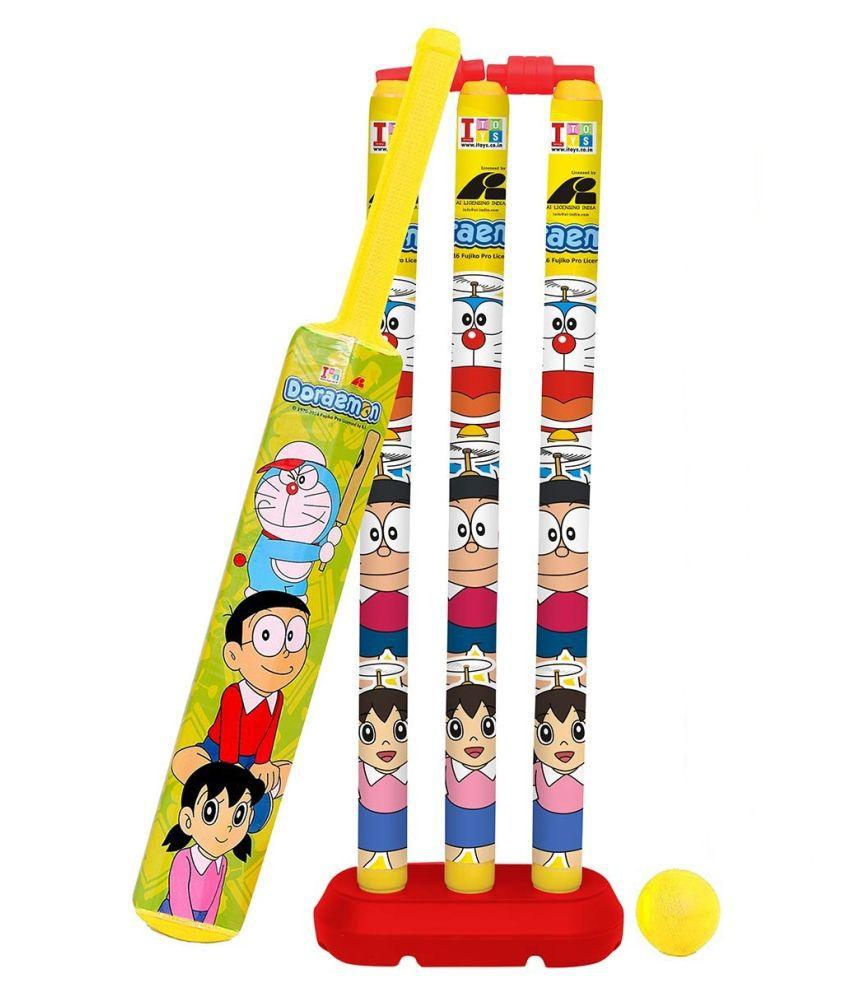 yatri creation Amazing Kids Cricket Kit Set with Bat,Balls, Wickets,Bells- Indoor Beach Outdoor Garden Play Set for 2-6 Yrs Kids ( Doraemon, 24 inch)