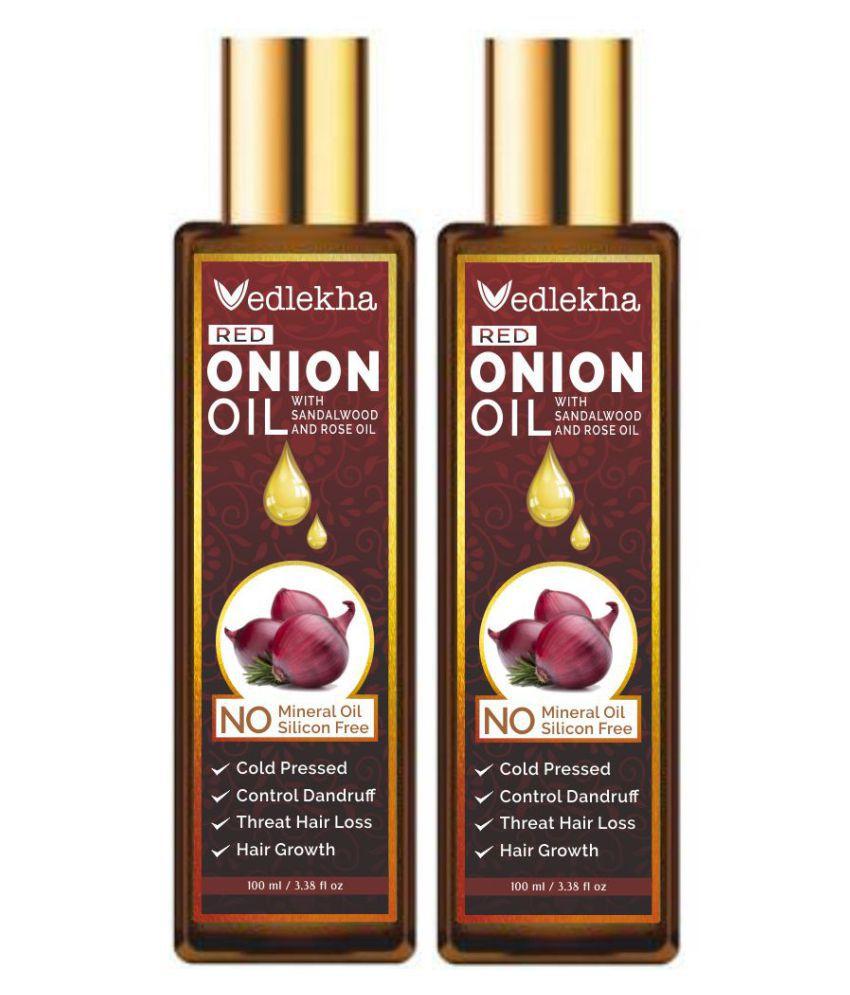Vedlekha RED ONION OIL - For Treat Hair Loss Anti Dandruff Oil- 200 mL Pack of 2