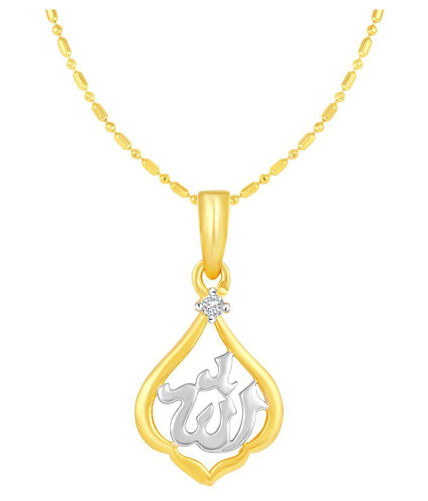 VIRINA Aalha Gold Plated Alloy & Brass Cubic Zirconia God Pendant with Chian for Women & Men [VGP1028G]