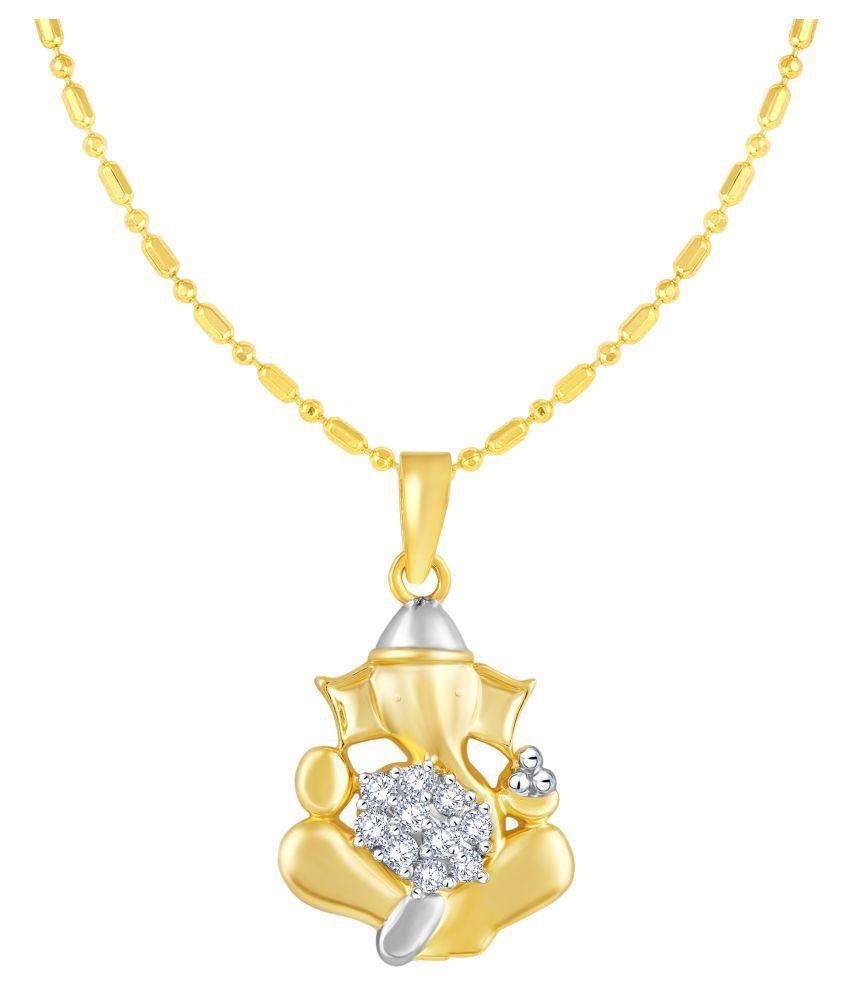 VIRINA Ekdantay Ganesh Gold Plated Alloy & Brass Cubic Zirconia God Pendant with Chain for Women & Men [VGP1056G]