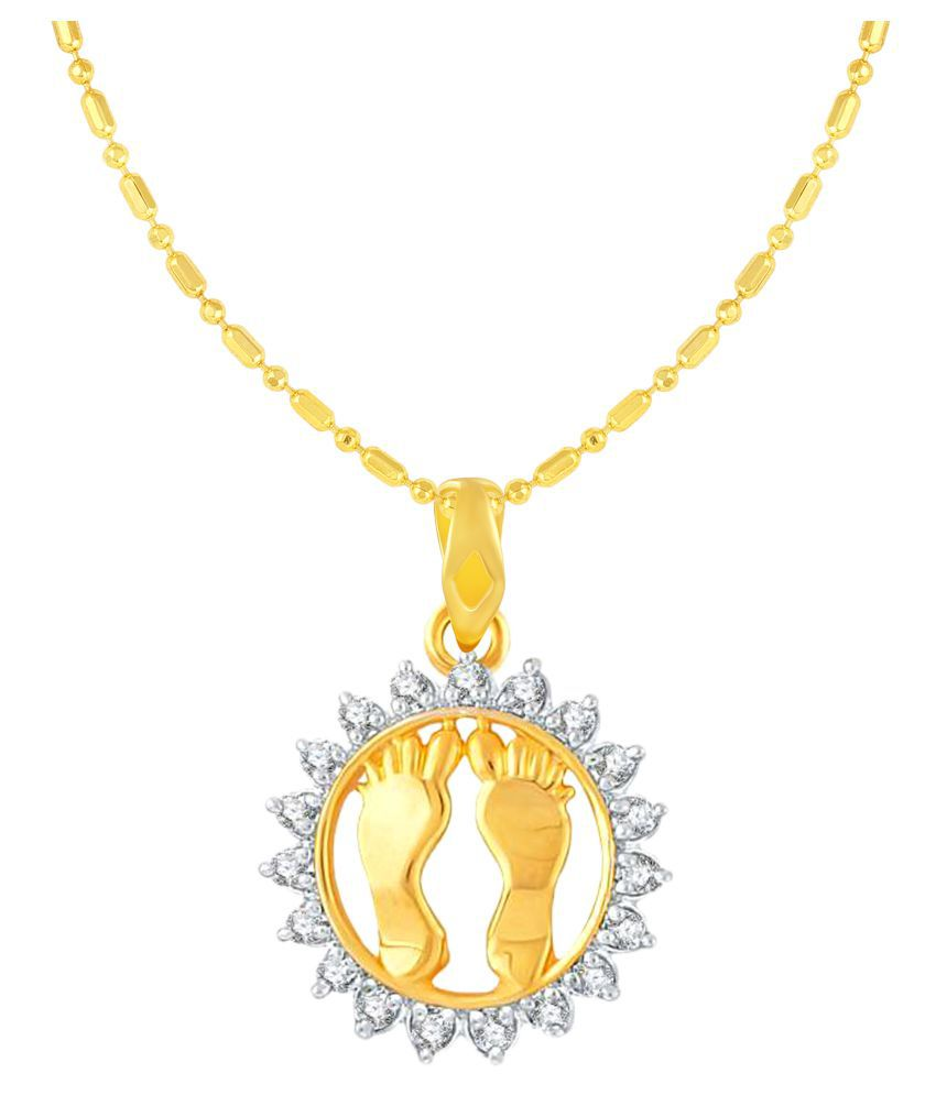 VIRINA Laxim Foot Gold Plated Alloy & Brass Cubic Zirconia God Pendant for Women & Men [VGP1061G]