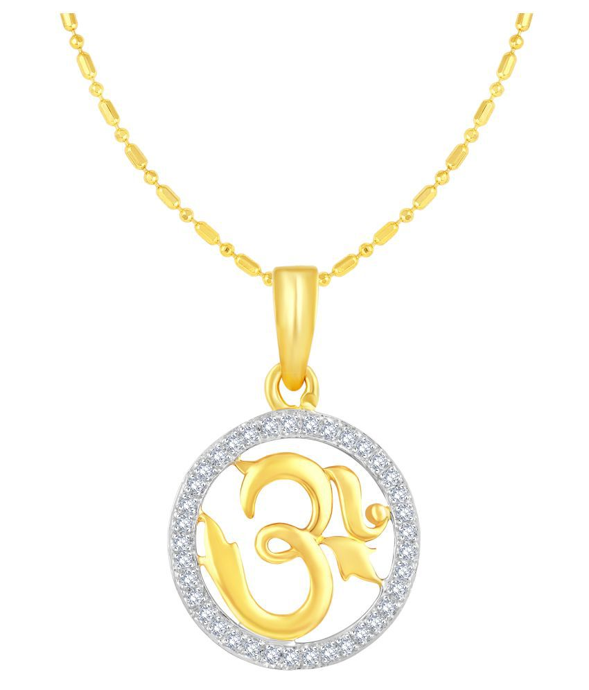VIRINA OM Gold Plated Alloy & Brass Cubic Zirconia God Pendant with Chian for Women & Men [VGP1027G]