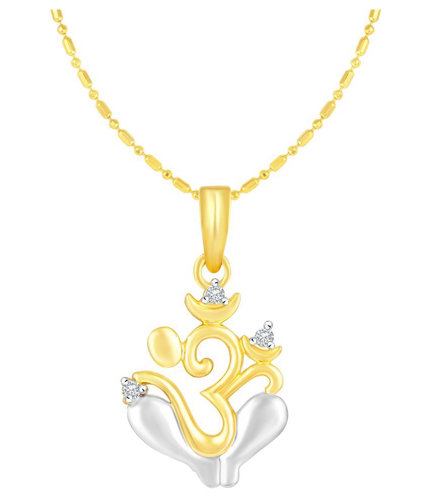 VIRINA Om Ganesh Gold Plated Alloy & Brass Cubic Zirconia God Pendant with Chain for Women & Men [VGP1059G]