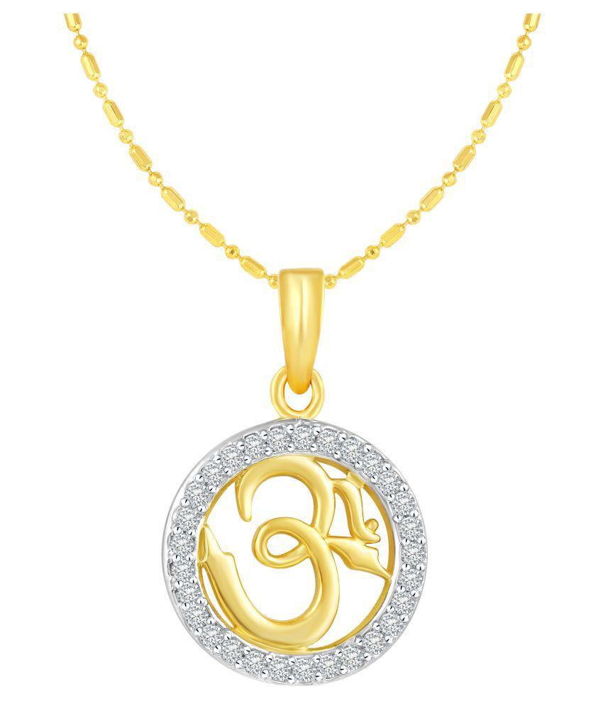 VIRINA Om Gold Plated Alloy & Brass Cubic Zirconia God Pendant with Chain for Women & Men [VGP1037G]