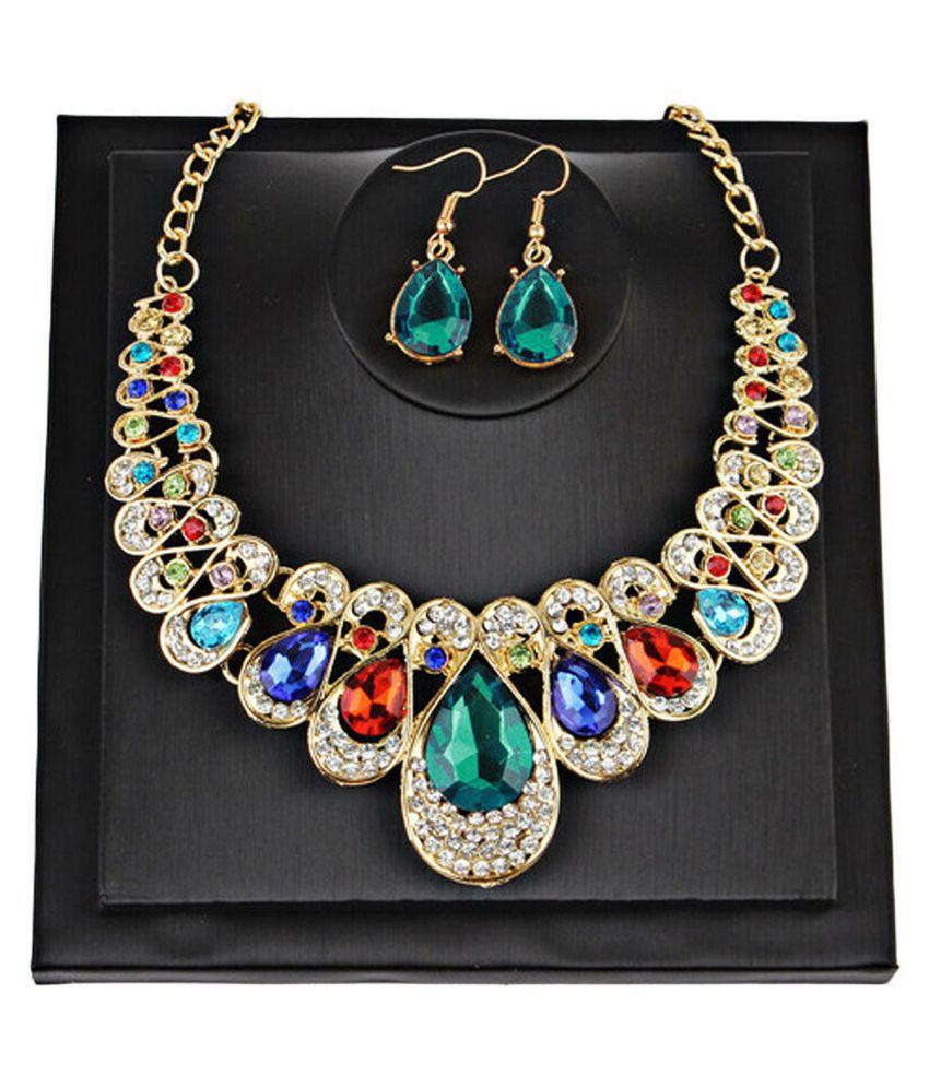 Women Wedding Jewelry Set Rhinestone Diamante Gold Plating Necklace Earrings