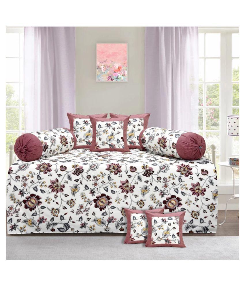 Decorum Cotton Multi Floral Diwan Set 8 Pcs