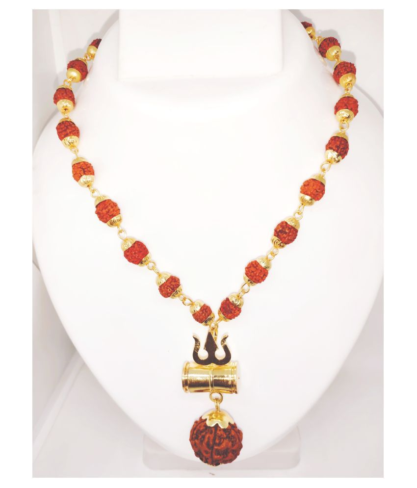 Loard Shiv Trishul Damru Locket With Puchmukhi Rudraksha Mala Gold-plated Brass, Wood