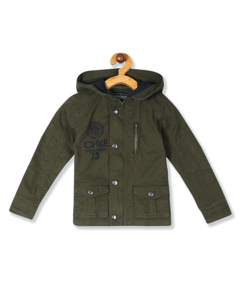 Green Boys Hooded Cotton Jacket