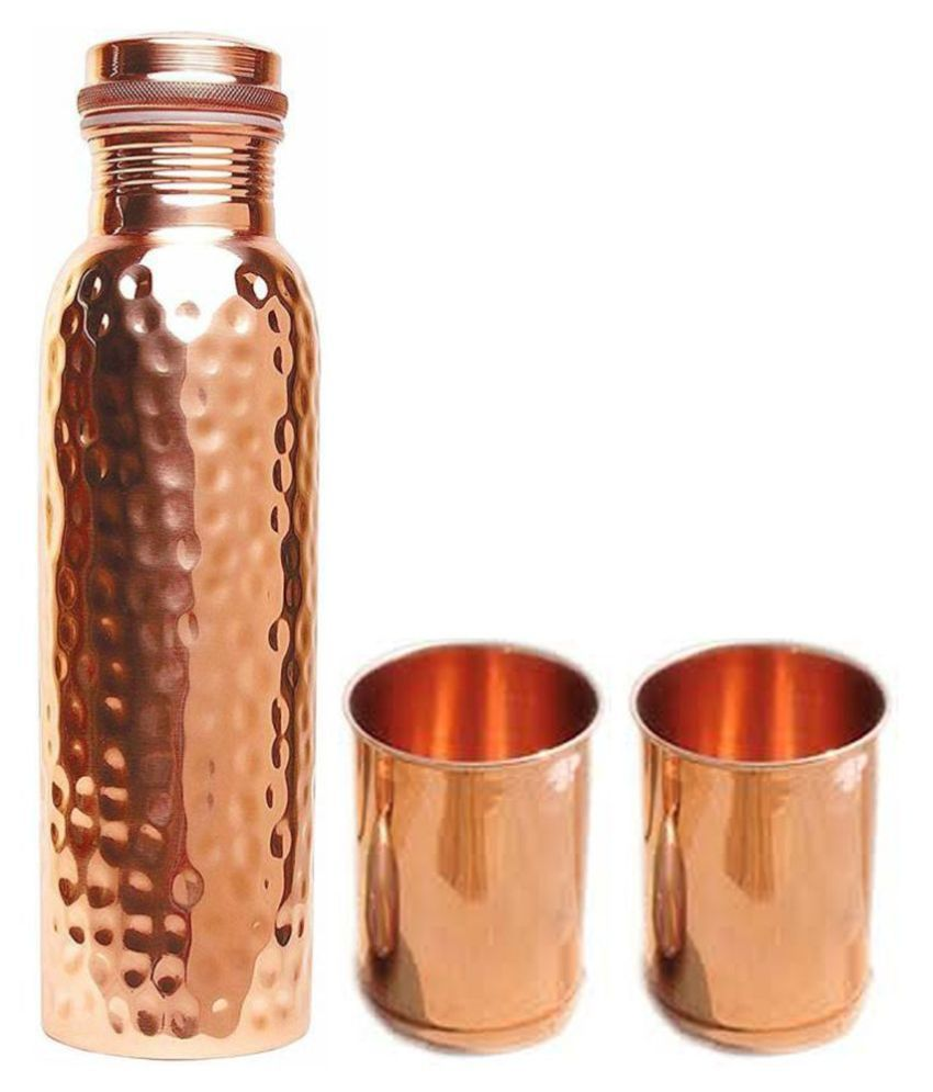 UNICOP Copper Bottle Glass 3 Pcs Lemon set