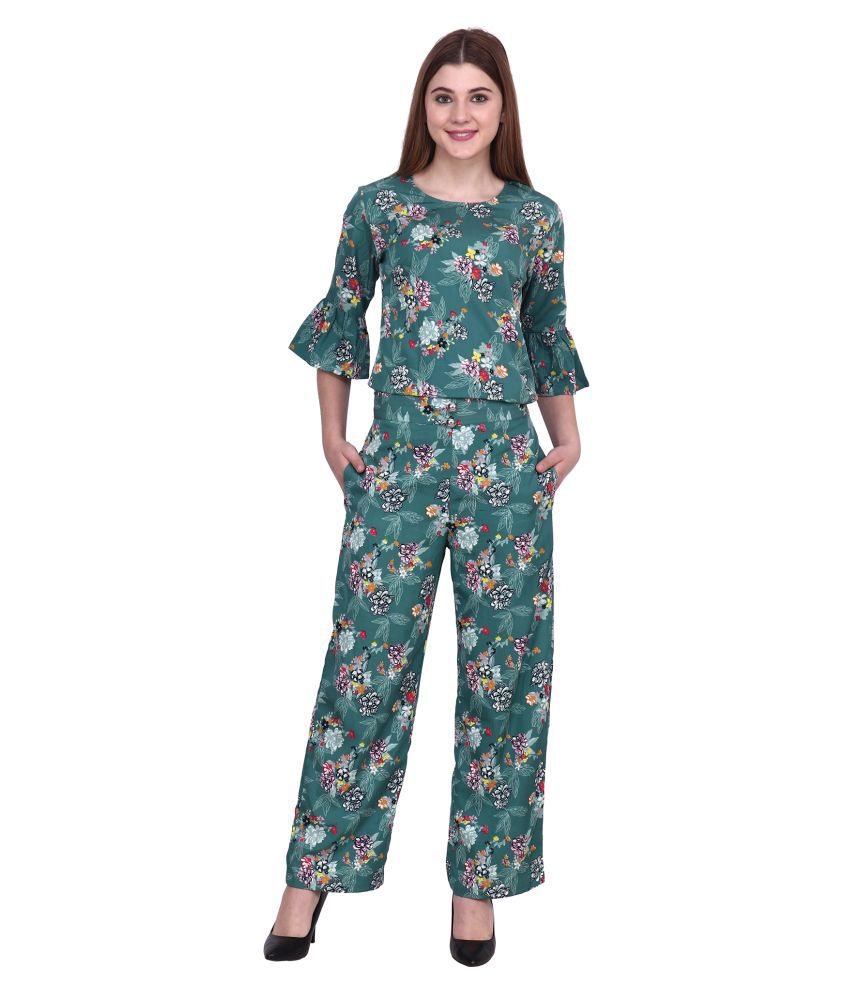 POPWINGS Green Polyester Jumpsuit
