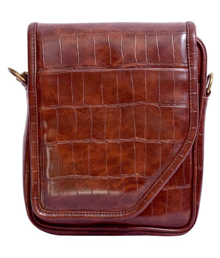 Shunya Brown Leather Office Messenger Bag