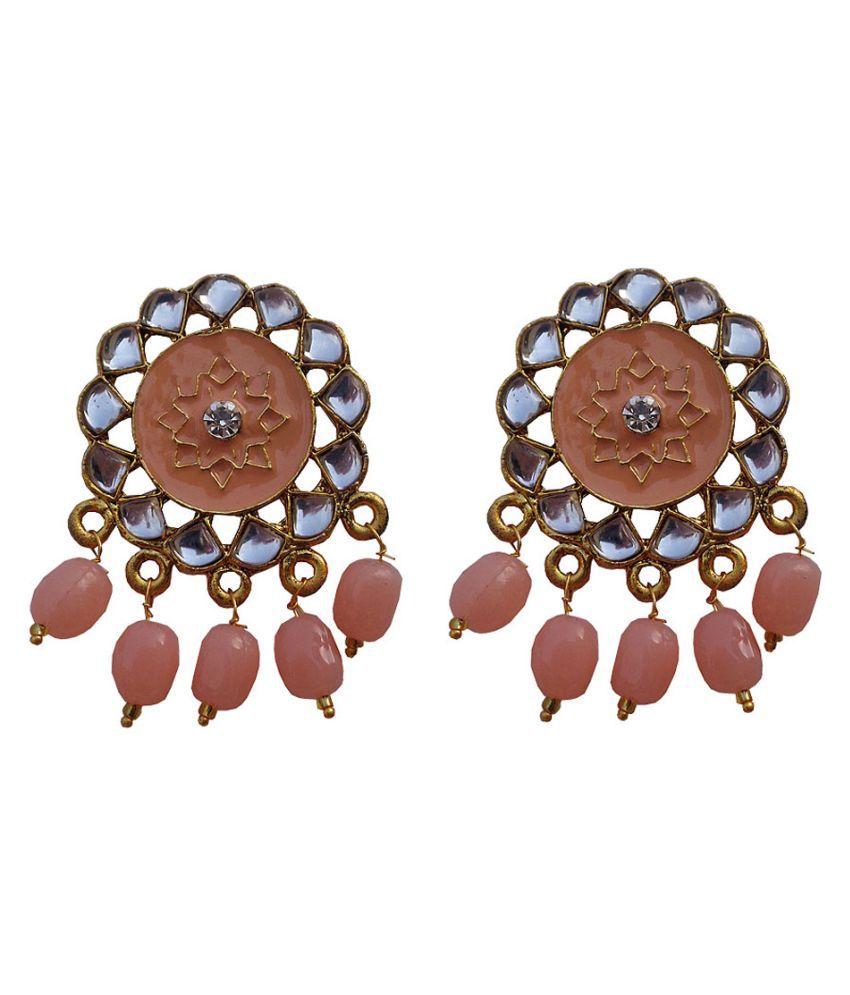 Trendeela Arwa Faux Kundan Studded Peach Brown Enameled Artistic Stud Earrings