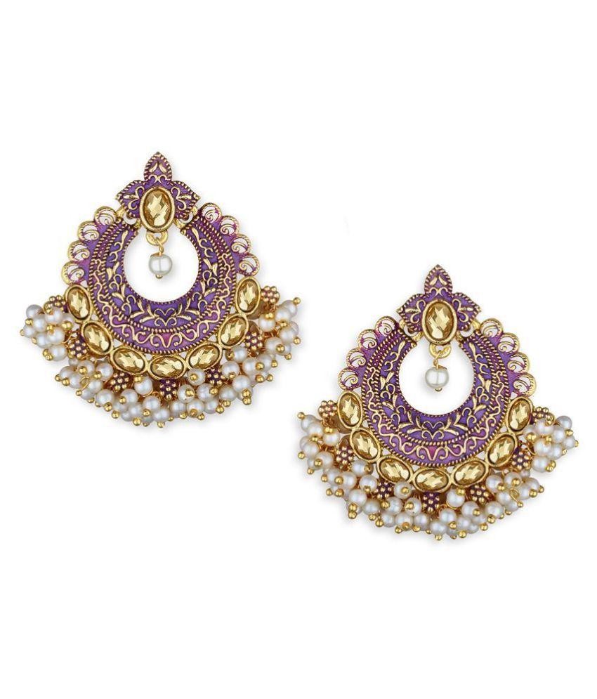 Spargz Graceful Enamel Gold Plated Ad Chandbali Earring For Women