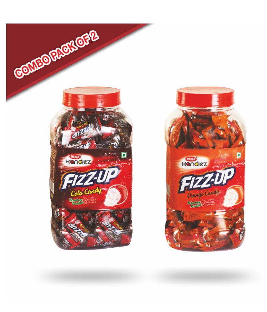Mahak Fizz -up cola and orange candy jar Toffees 1200 gm Pack of 2