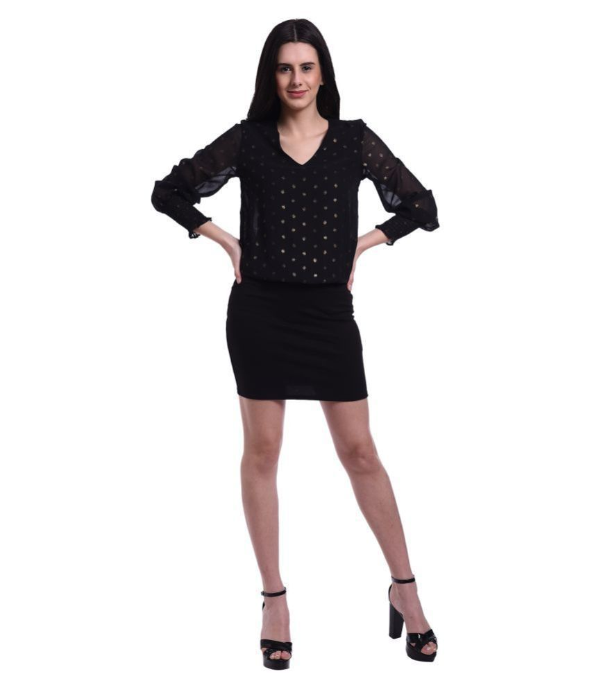 Mansi Collections Polyester Black Bodycon Dress