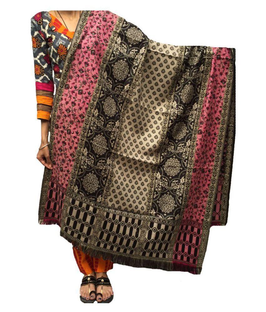 KASHMIRI Black Loom-Woven Shawl