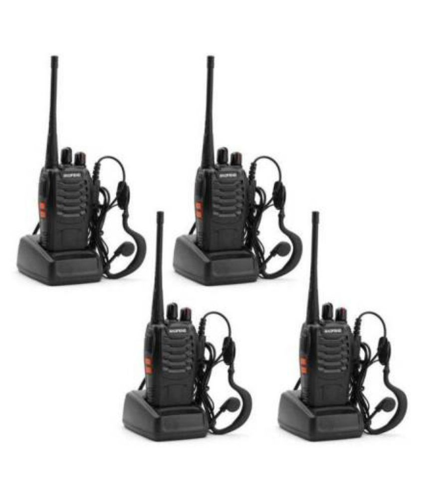 MANIA ELECTRO 2 Way Radio UHF Handheld 400-470MHz CTCSS/DCS Flashlight with Earpiece Programming Cable Walkie Talkie -4 Pieces