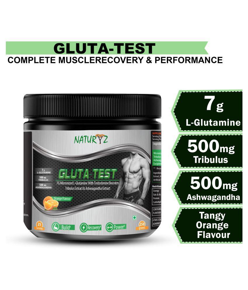 NATURYZ Gluta test  with 7G of Micronized L- Glutamine with 500mg Ashwagandha 250 gm