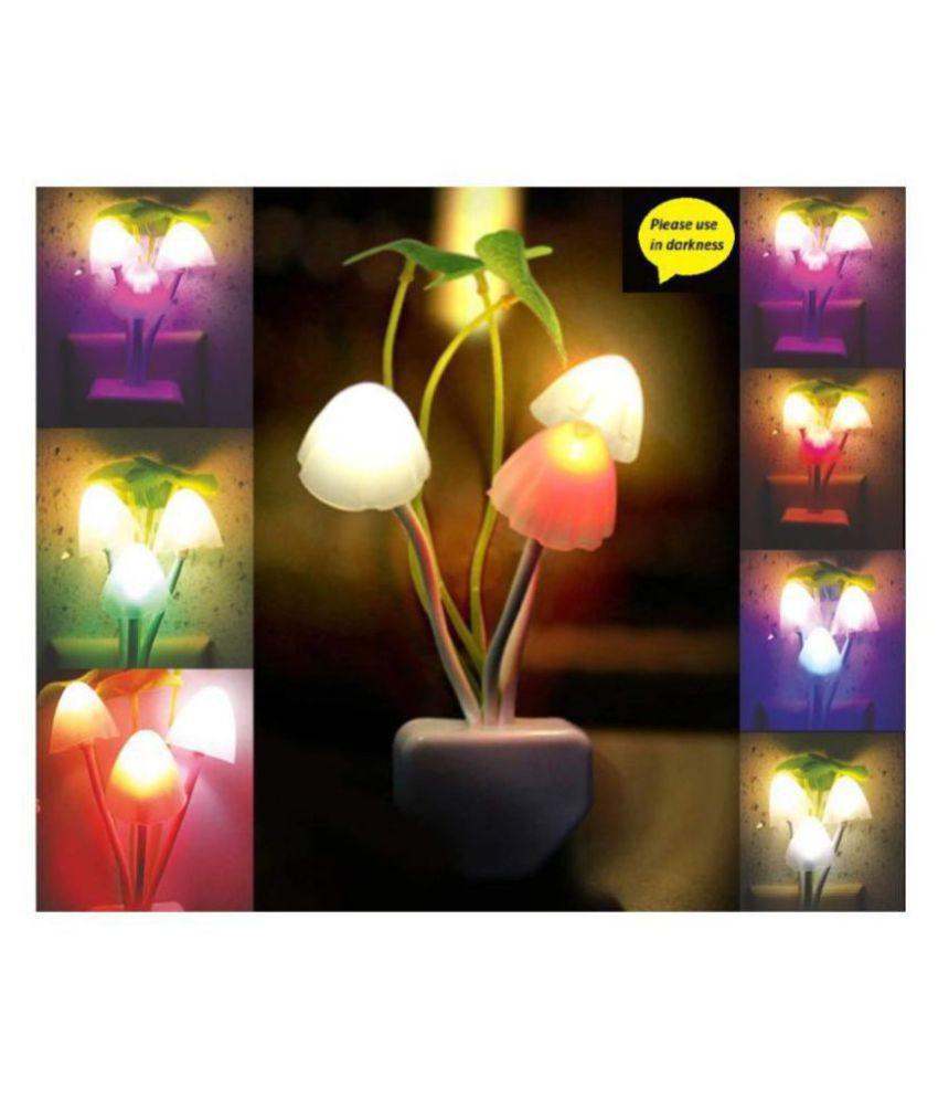 BIZHIVE Fancy Mushroom Shape LED Color Changing Light Automatic Sensor Night Lamp Multi - Pack of 1 Night Lamp Multi - Pack of 1