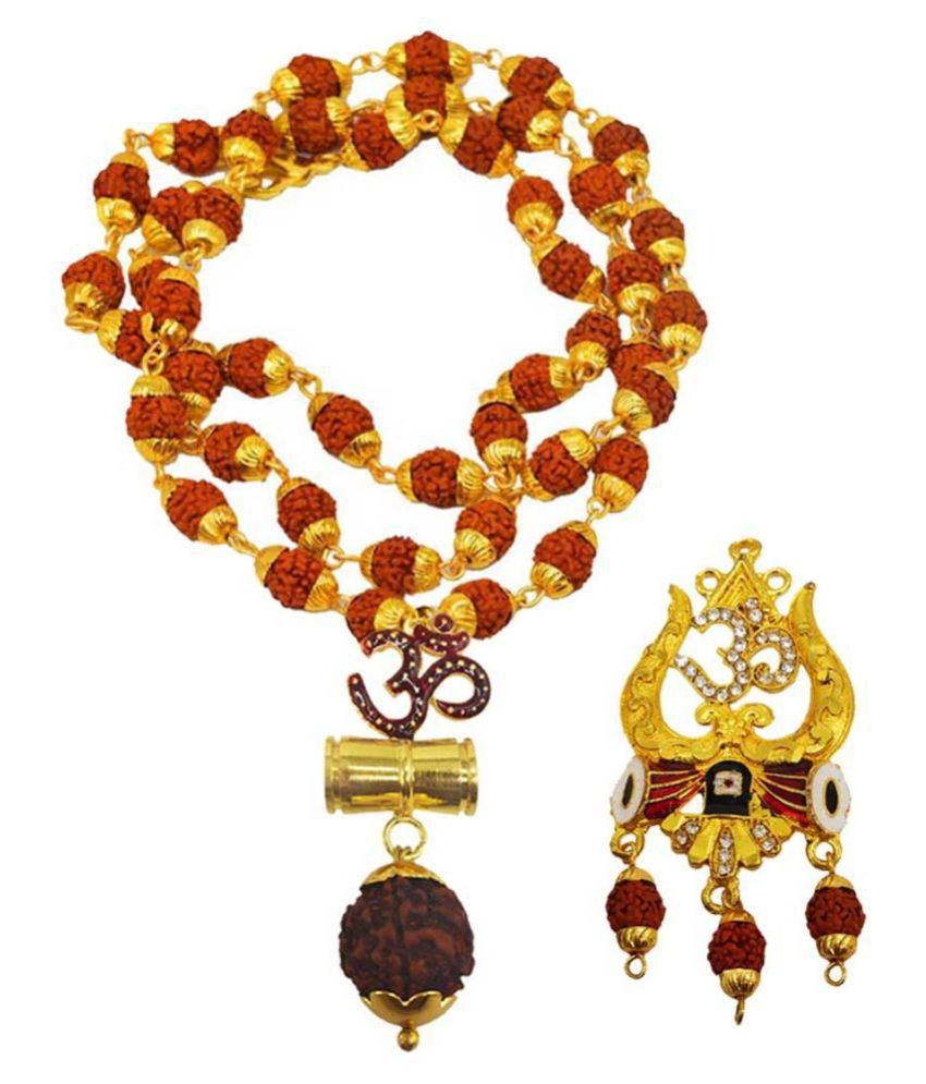 Men Style Religious Jewellery Om Trishul Damru Gold Brown Brass Wood Pendant with Rudraksha Mala