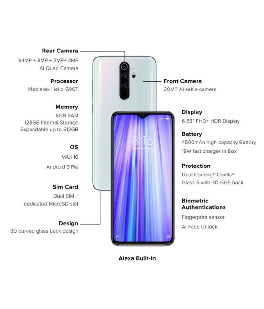 Redmi Note 8 Pro 128gb 6 Gb White Mobile Phones Online At Low Prices Snapdeal India