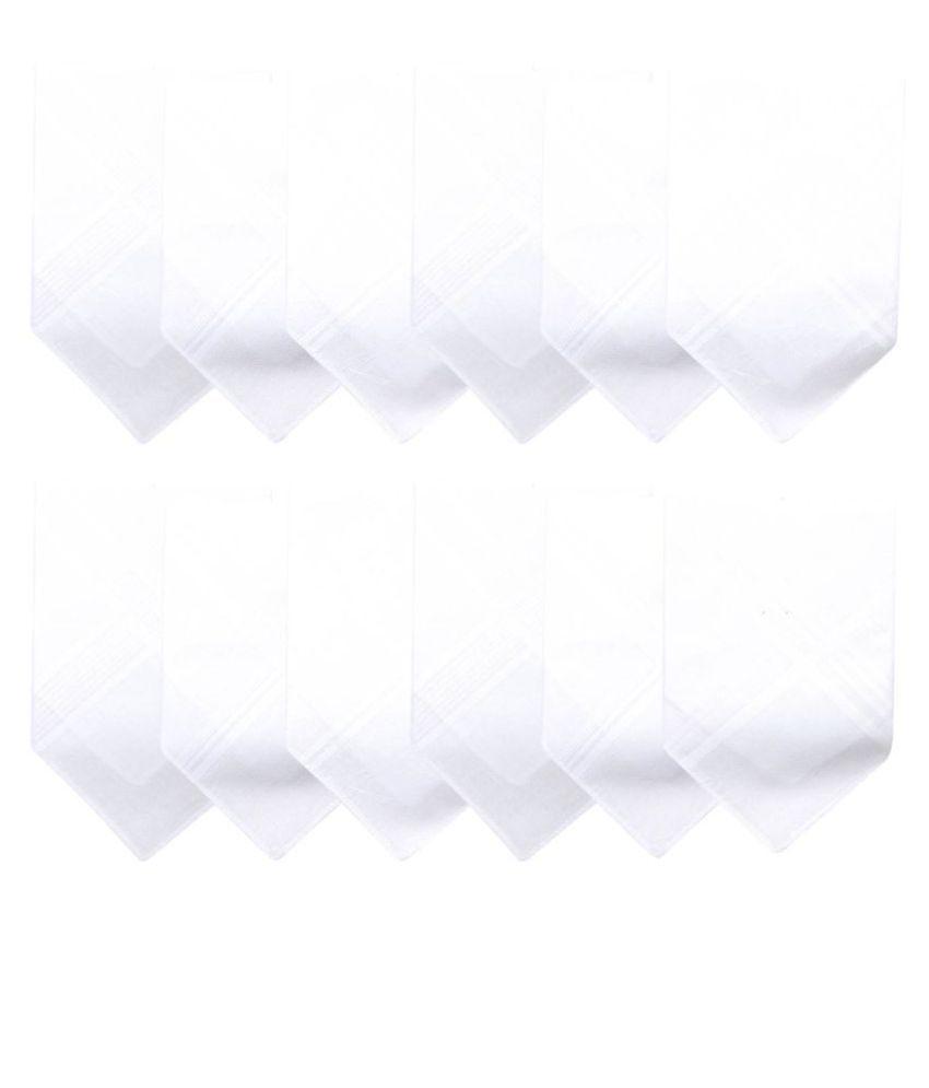 Men's Formal Cotton Handkerchief in White -Pack of 12