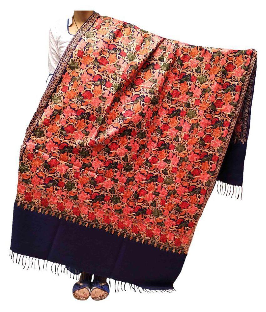 KASHMIRI Navy Ari Embroidery Shawl