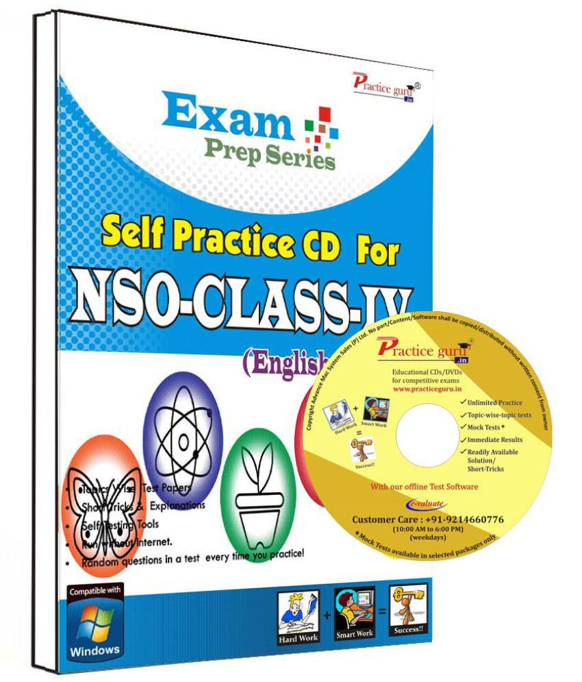 Practice Guru 18 Test ,10 Previous Year Paper  for 4 Class NSO Exam  CD