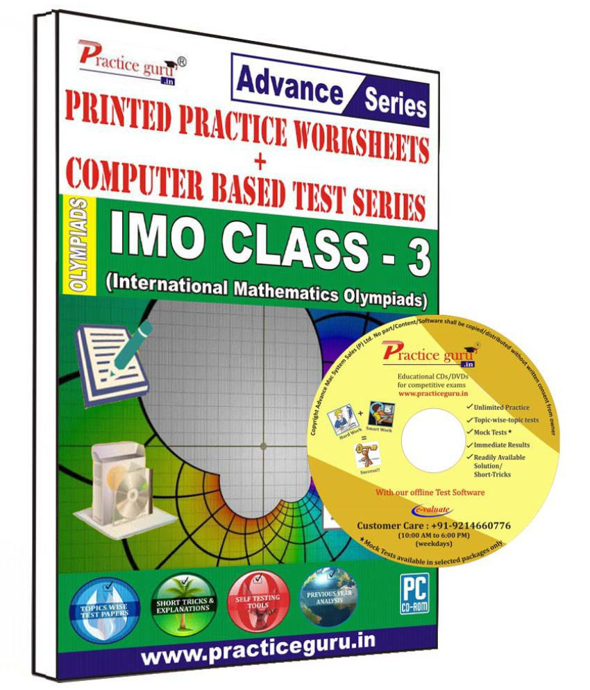 Practice Guru 60 Test 10 Mock Test,10 Previous Year Paper,30 Worksheet (Printed) for 3 Class IMO Exam  CD